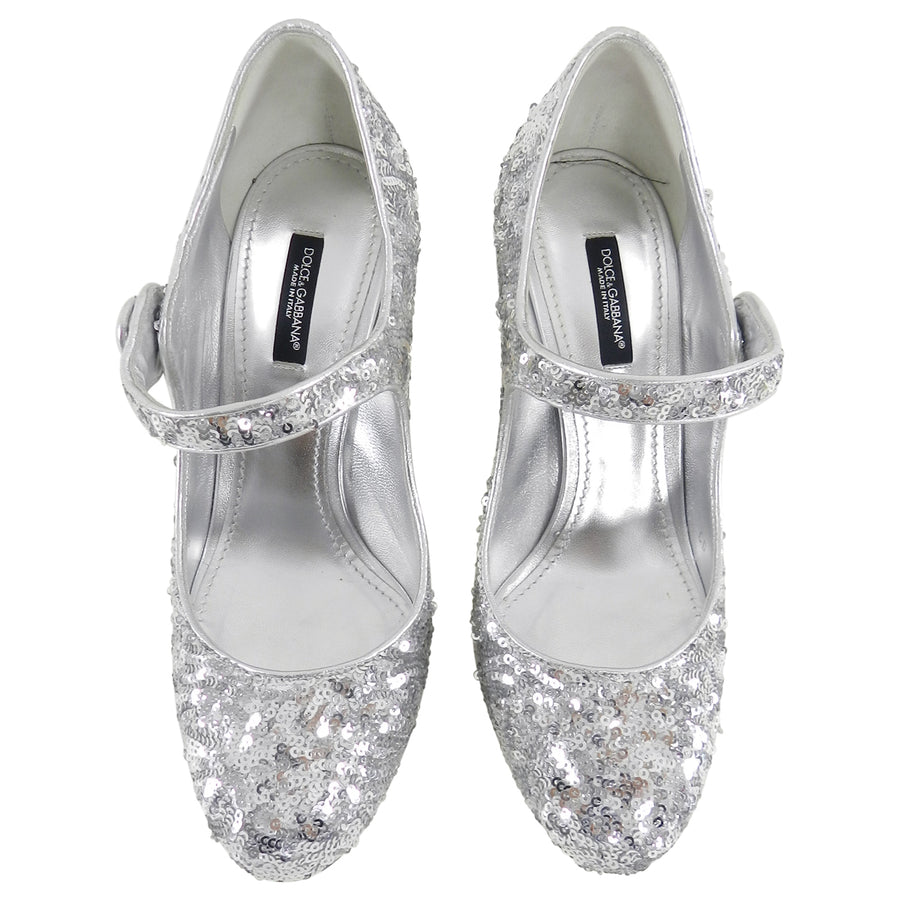 Dolce & Gabbana Vally Silver Sequin Mary Jane Shoes - 38