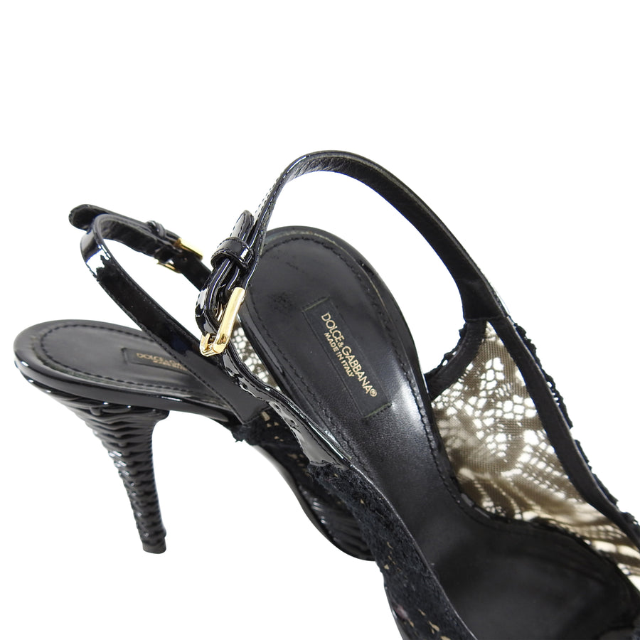 Dolce & Gabbana Black Wicker and Lace Platform Slingback Heels - 38