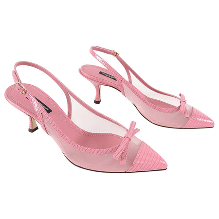 Dolce & Gabbana Pink Leather and Mesh Slingback Kitten Heels - 38