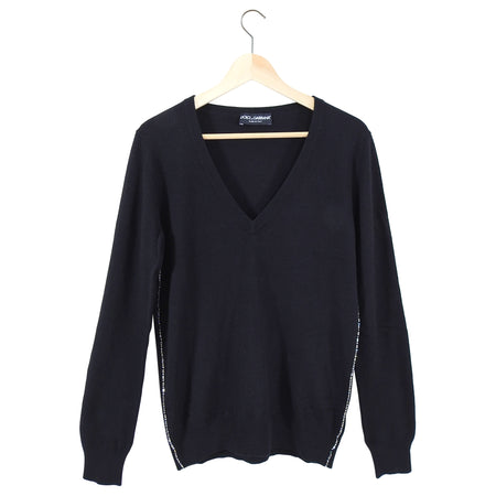 Dolce & Gabbana Black Rhinestone trim V-neck Sweater - 6