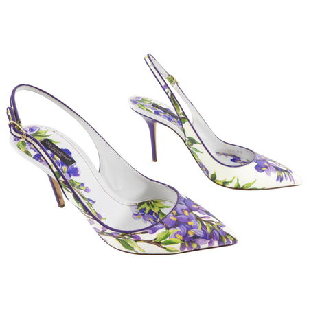 Dolce & Gabbana Purple and White Wisteria Slingback Heels - 41
