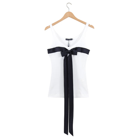 Dolce & Gabbana White Tank Top with Black Satin Long Bow - IT42 / 6