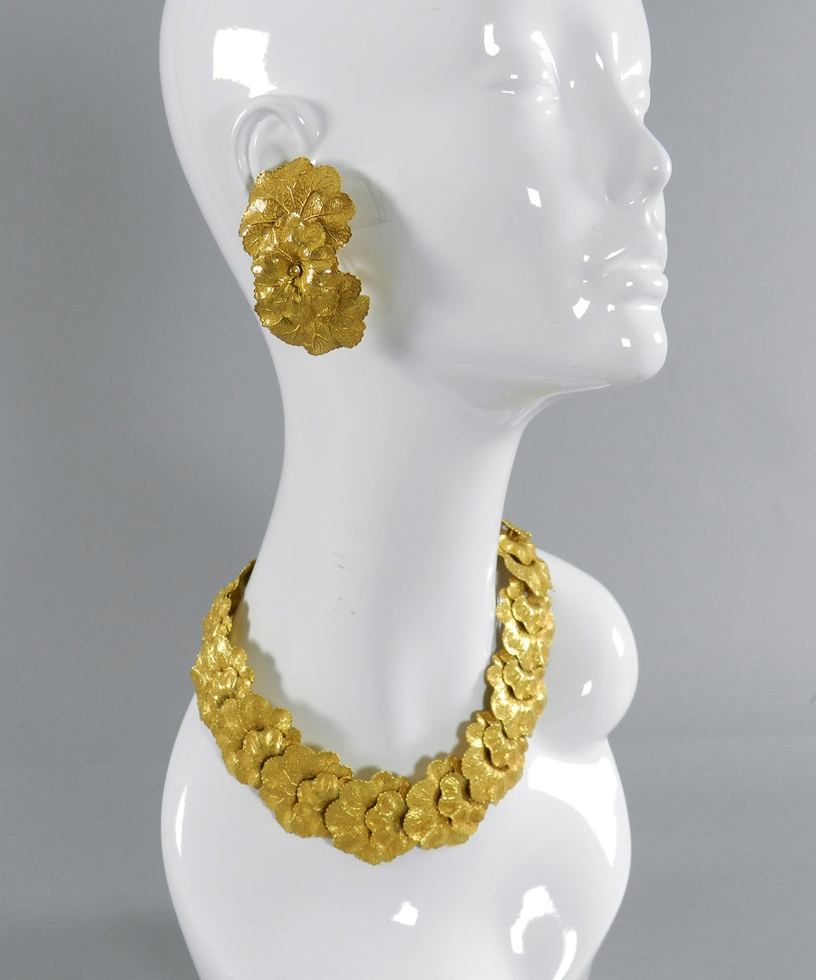 Vintage 1980's Dominique Aurientis Gilt Necklace and Earrings Set