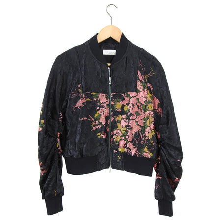 Dries Van Noten Pink and Black Floral Jacquard Bomber Jacket - 38 / 6
