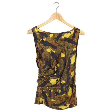 Dries van Noten Mustard Yellow Abstract Pattern Silk Top - 2