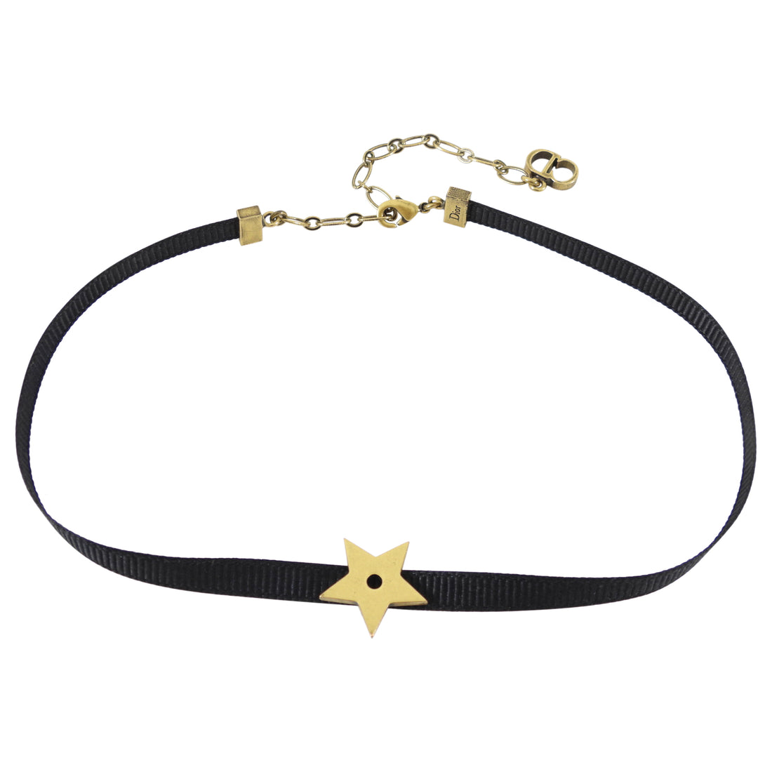 Dior Thin Black Ribbon Star Choker Necklace