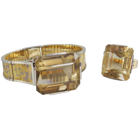 Vintage 1970's Retro Style Eszeha Smoky Citrine Gold Bracelet and Ring Set