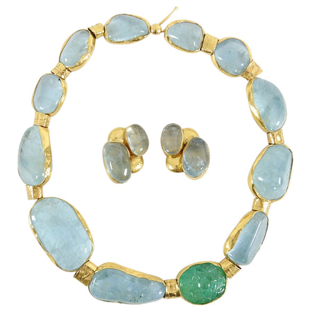 Eileen Coyne 22k Gold Blue Tourmaline and Carved Emerald Necklace Earrings