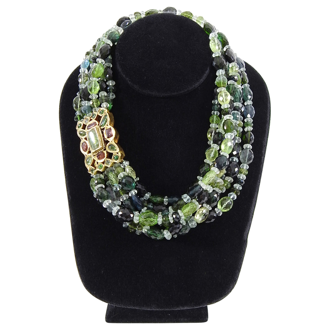 Eileen Coyne 22k Gold and Green Tourmaline Multi Strand Bead Necklace