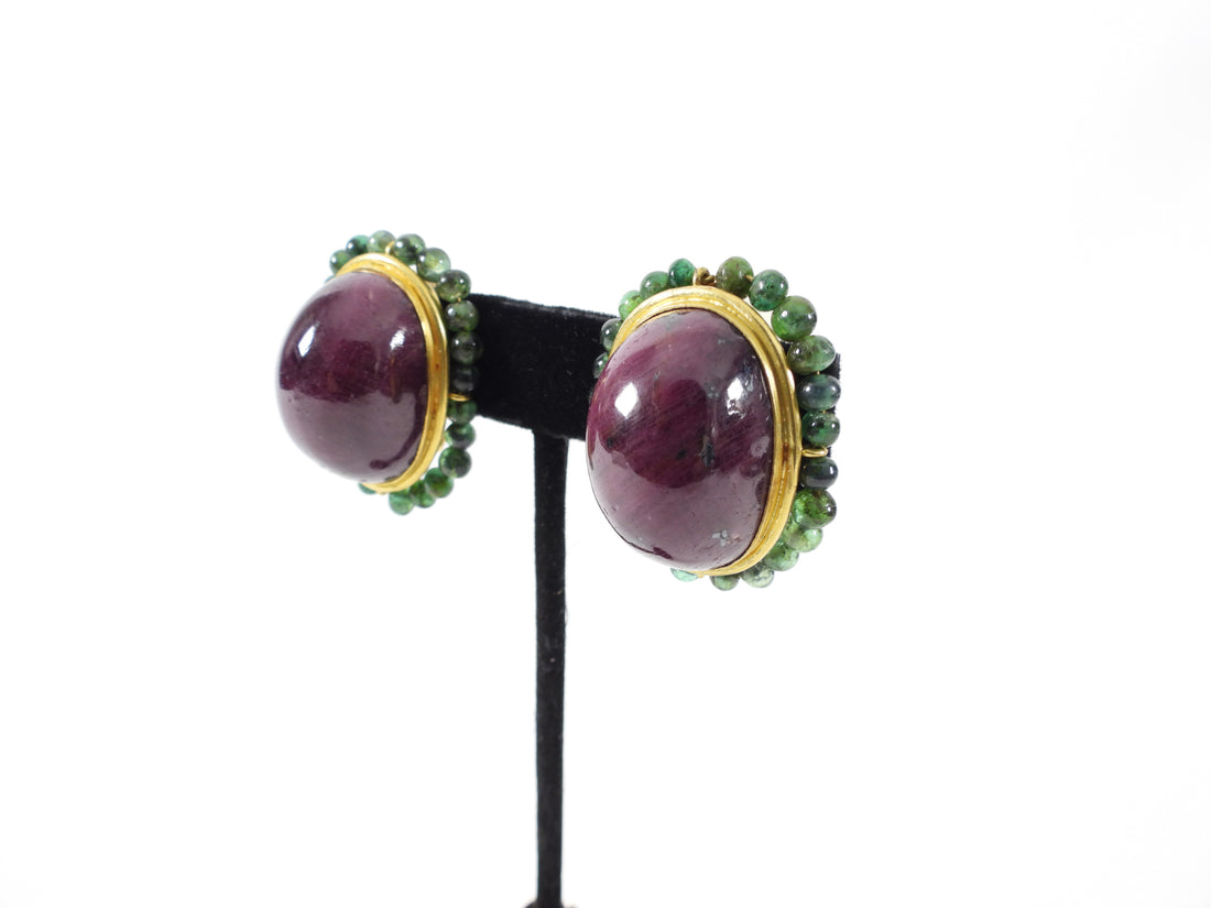 Eileen Coyne 22k Gold, Raw Ruby, Green Tourmaline Necklace Set