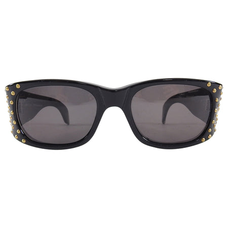 Emannuelle Khanh Vintage 1990's Large Studded Shield Sunglasses 1600