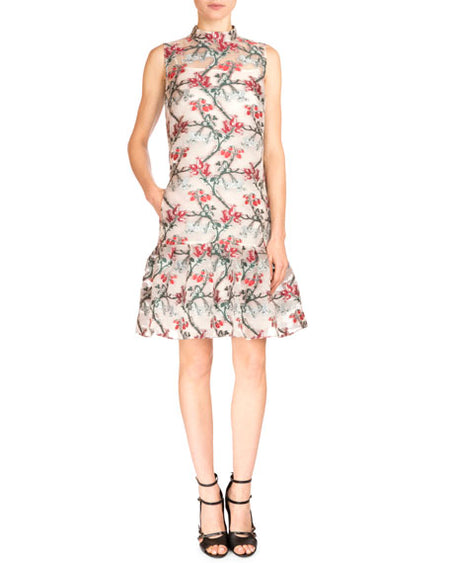 Erdem Spring 2016 Fil Coup Strawberry Embroidered Nena Dress