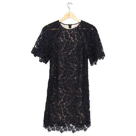 Erdem Black Guipure Lace Short Sleeve Dress