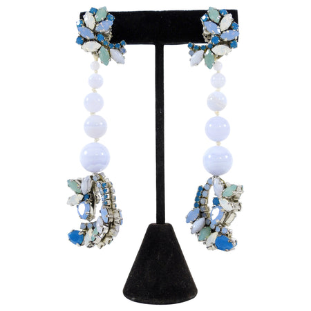 Ericson Beamon Blue Rhinestone Bead Long Earrings
