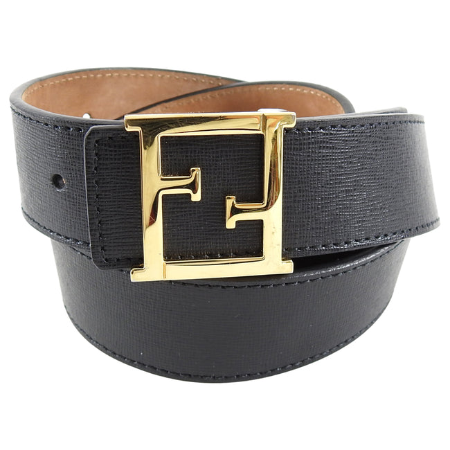 Fendi Black Leather Belt with Gold FF Logo Buckle