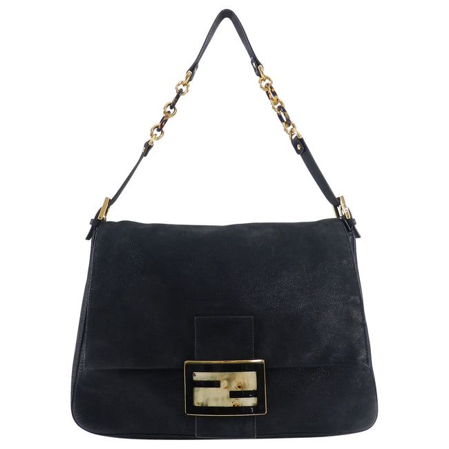 d16eac38864a Fendi Suede Big Mamma Shoulder Bag with Tortoise and Resin Clasp