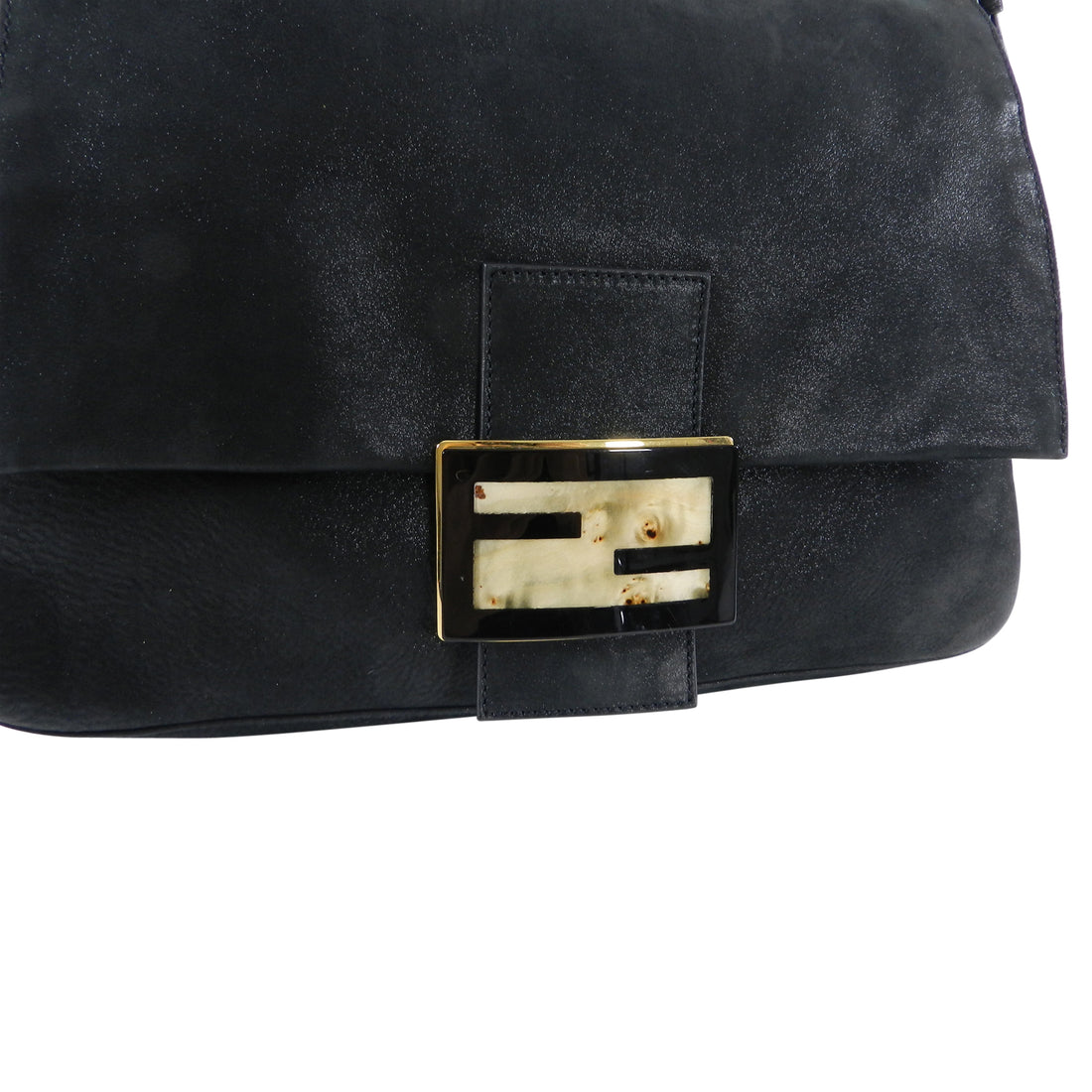 Fendi Suede Big Mamma Shoulder Bag with Tortoise and Resin Clasp