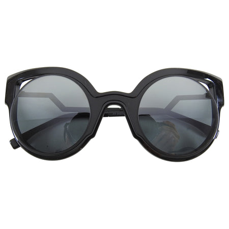 Fendi Fall 2015 Black Round Cut Out Sunglasses FF0137S