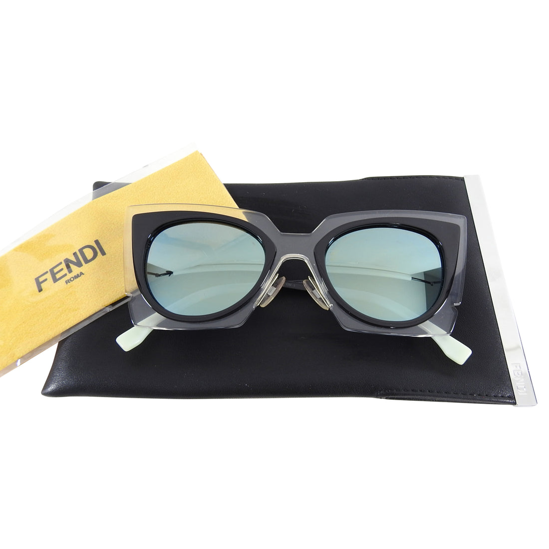 Fendi Spring 2015 Runway Clear Cateye Mirror Sunglasses FF0117