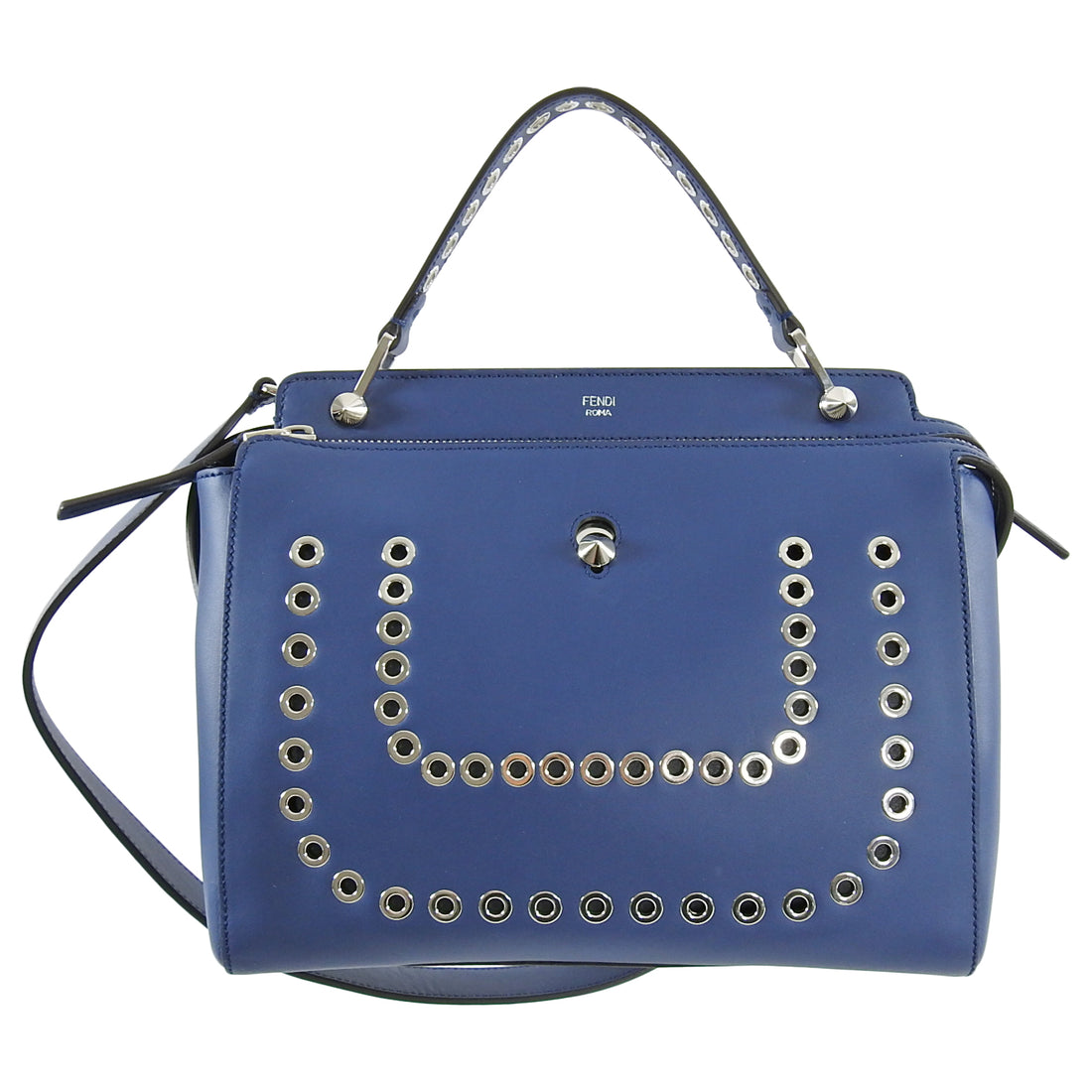 Fendi Blue Leather DotCom Grommet Satchel Bag