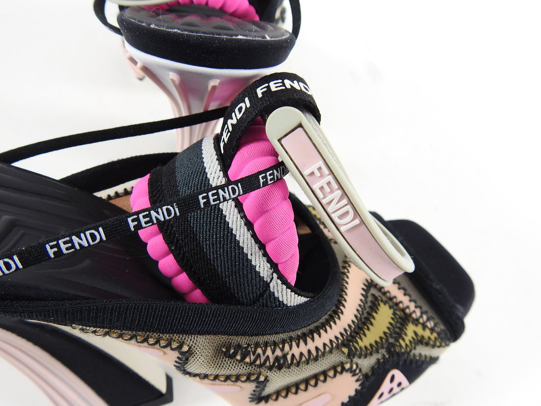 Fendi Freedom Peep Toe Pink and Black Heel Sandals - 36 / 6