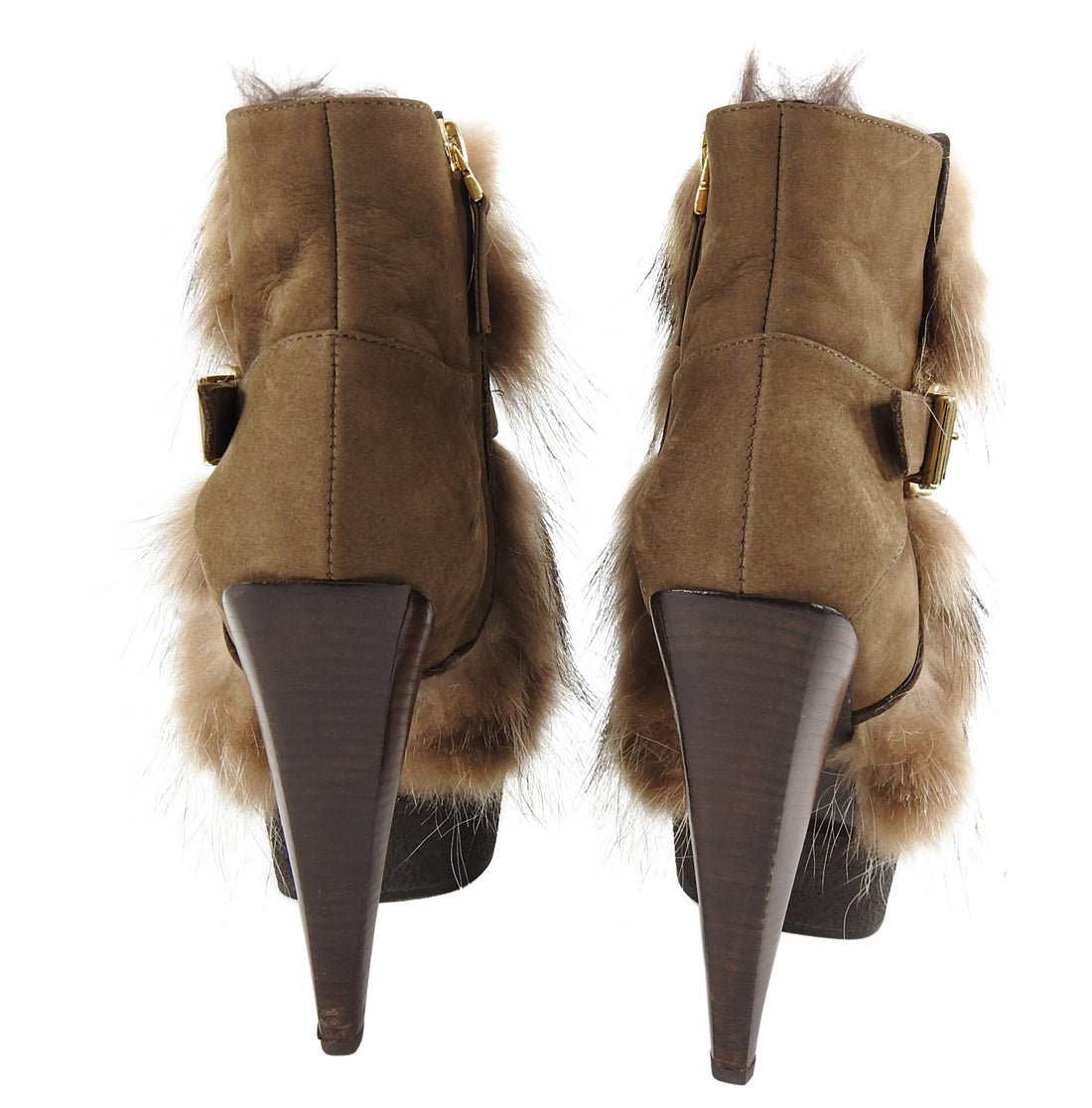Fendi Fur and Suede Platform Ankle Boots - 37.5