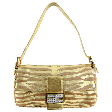 Fendi Vintage 1990's Gold Leather and Calf Fur Jewel Baguette Bag
