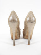 Fendi Gold Platform Peep Toe Bow Pumps - 38 / 8