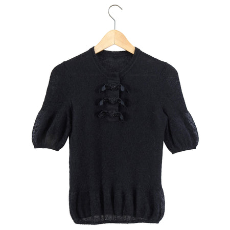 Fendi Black Mohair Short Sleeve Bead Embellished Knit Sweater - IT40 / XS