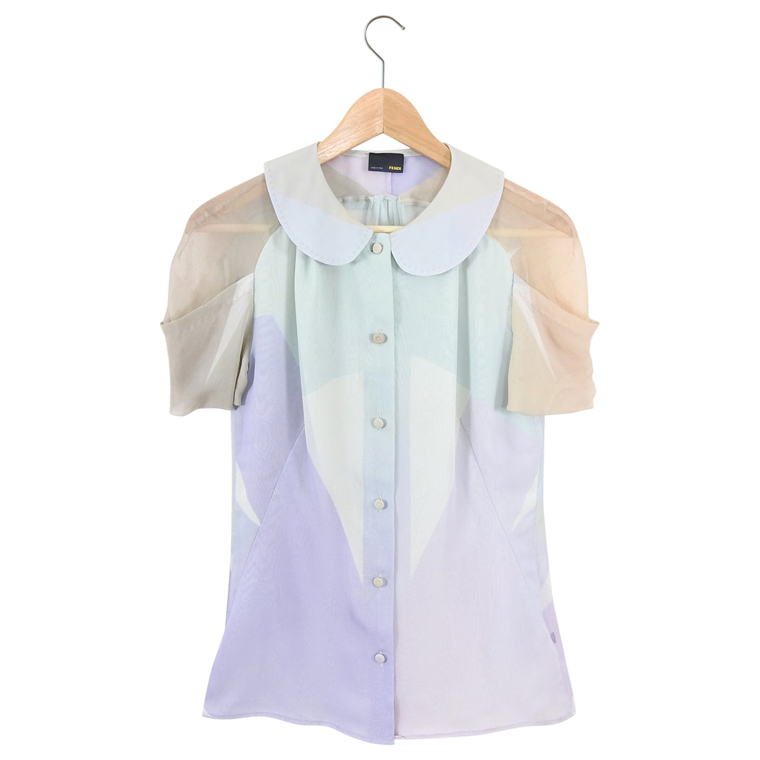 Fendi Sheer Silk Chiffon Pastel Color Block Blouse - IT42 / 6 Small