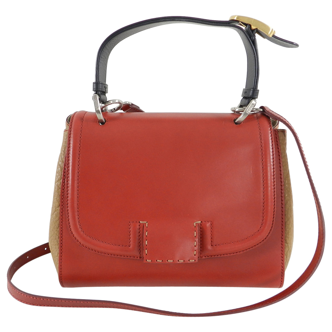 Fendi Silvana Bag with Enamel FF Logo buckle - Red, black camel