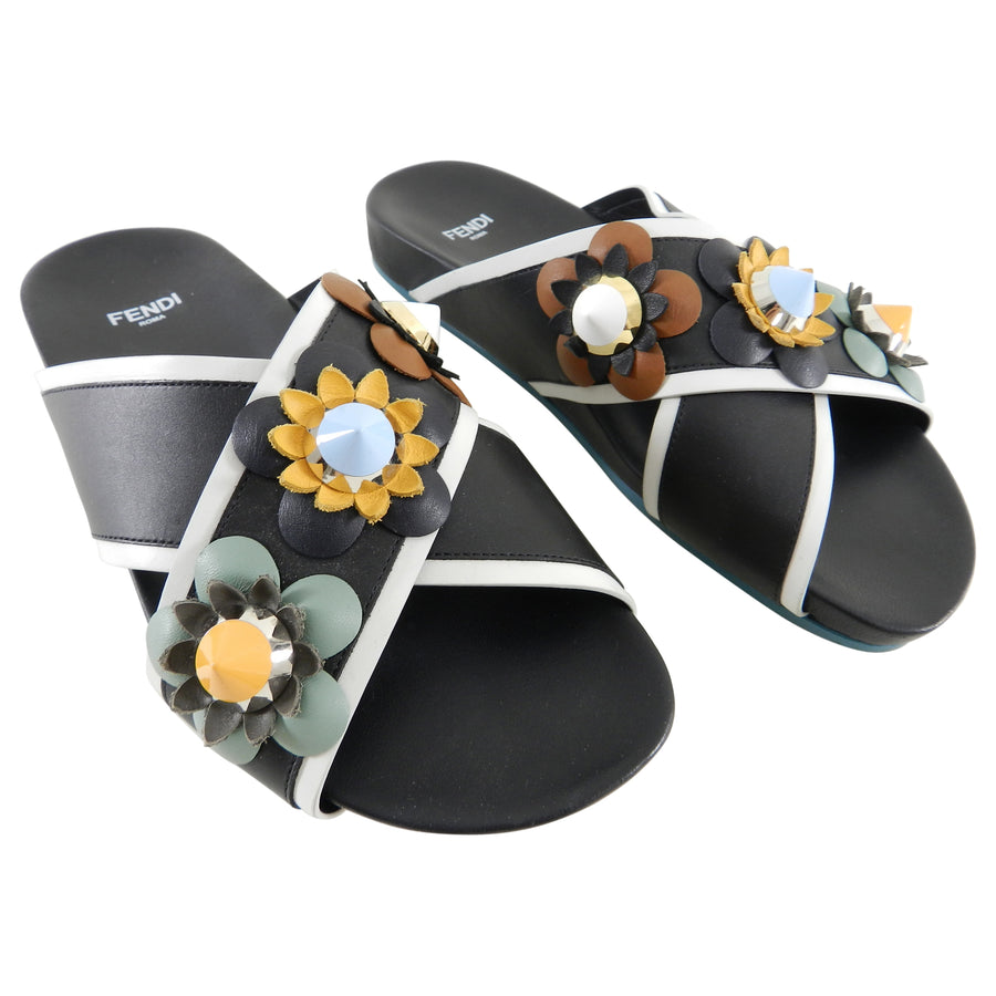 Fendi Flowerland Black Multi Slip On Flower Stud Sandals - USA 6.5