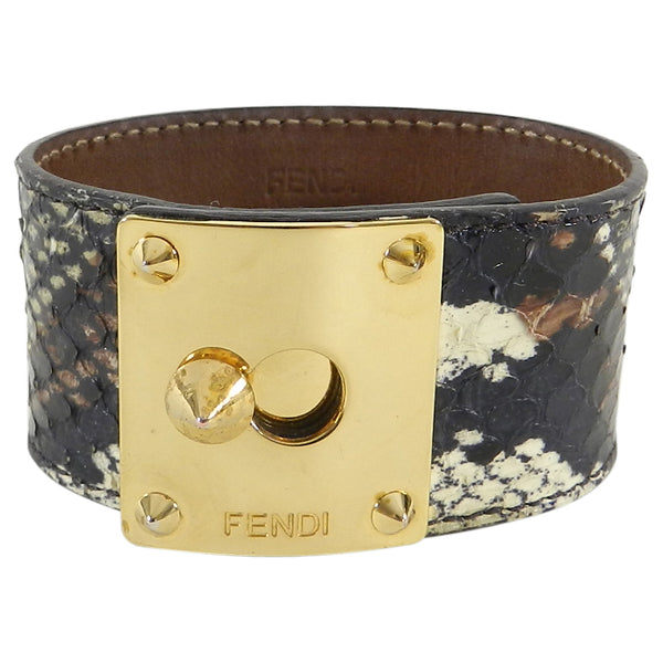 Fendi Brown Snakeskin Cuff Bracelet with Gold Clasp