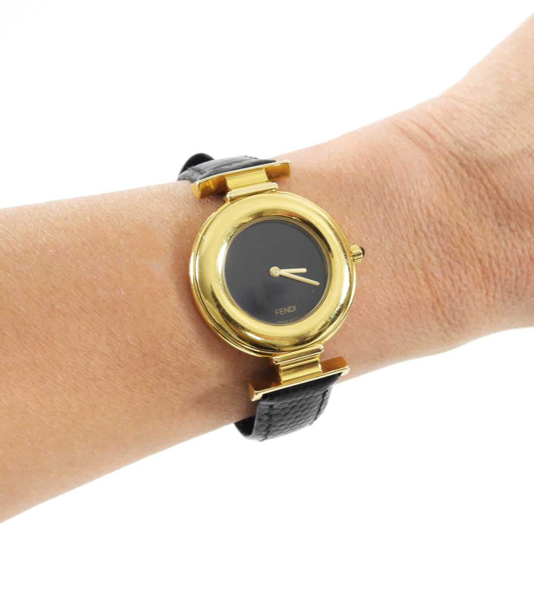 Fendi Vintage FF Gold 320 G Watch with Black Band