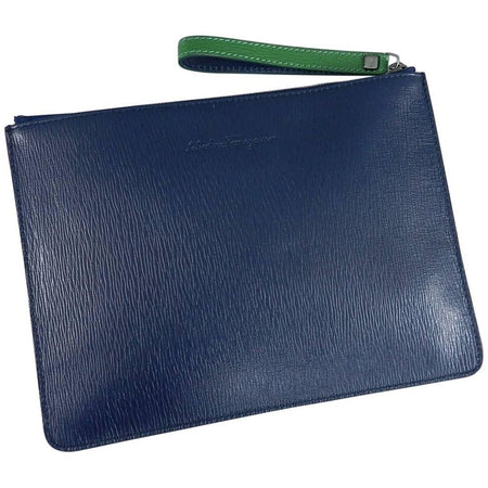 Ferragamo Blue and Green Leather Zip Pouch / Bag