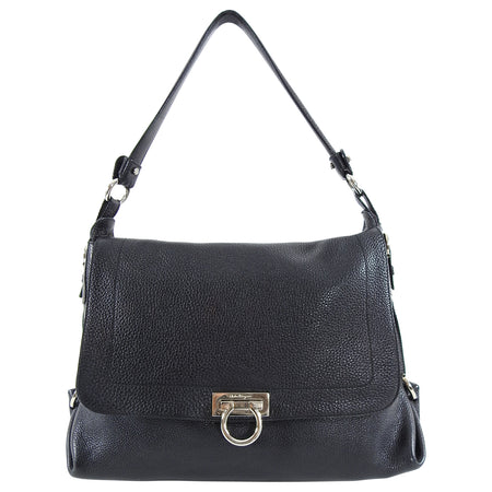 Ferragamo Black Grained Leather Sofia Hobo Bag