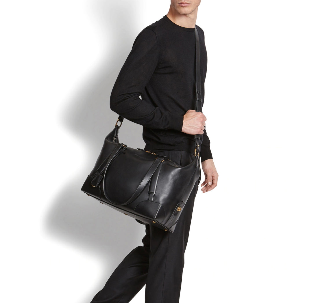 Ferragamo SS2019 Black Dynamo Duffle Overnight Travel Bag