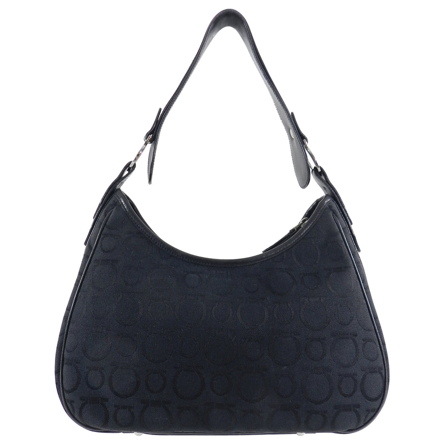 Ferragamo Gancini Black Canvas Logo Hobo Bag