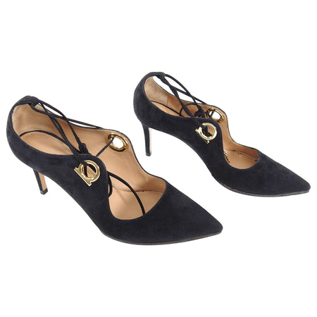 Ferragamo Black Suede Lace Up 65mm Heel Shoes - 5
