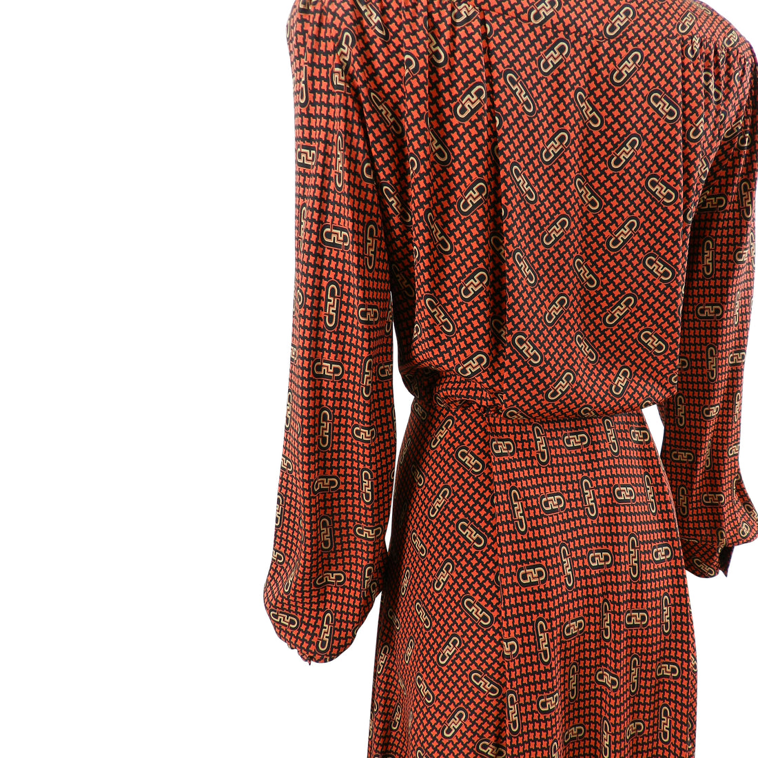 Salvatore Ferragamo vintage 1970's Silk Logo Shirt Dress