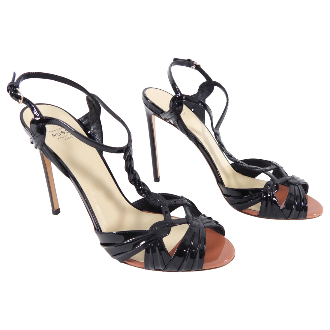 Franco Russo Black Patent Strappy Sandals Heels - 41