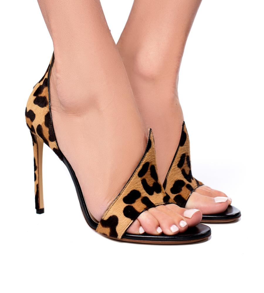 Francesco Russo Calf Hair Leopard High Heel Sandal - 8