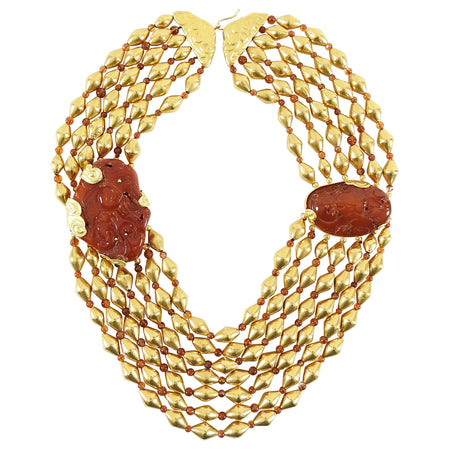 Fred Leighton 22k Gold Asian Carved Amber Multi-Strand Bead Necklace