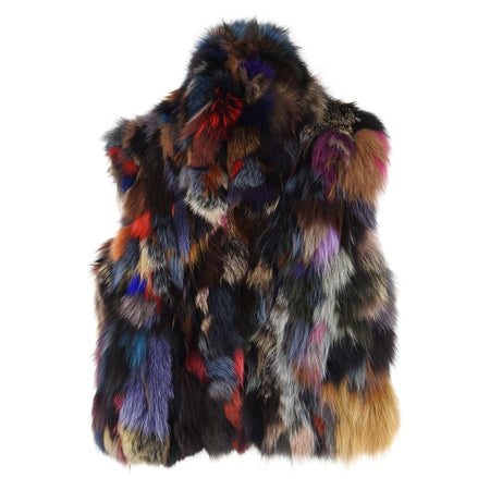 Adrienne Landau Patchwork Fox Fur Vest from Saks - S / 6