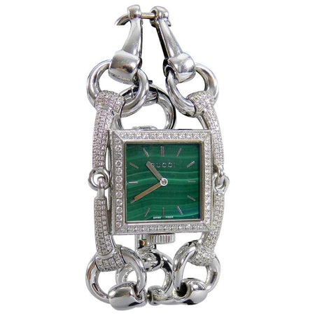 Gucci Ladies White Gold Diamond Malachite Signoria Wrist watch