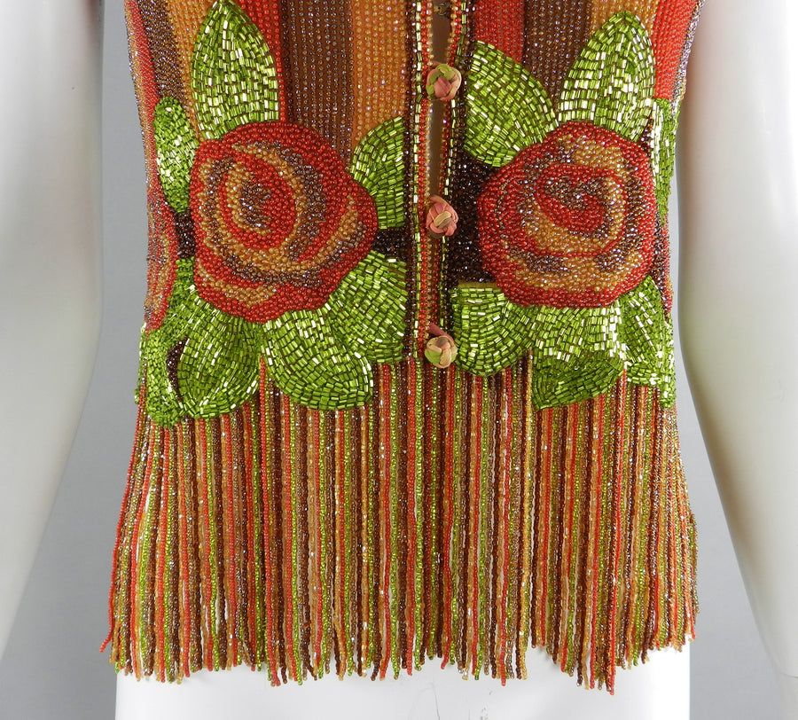Vintage 1970's Galanos Beaded Fringe Strappy Evening Top