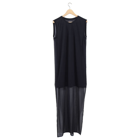 Gareth Pugh Black Hi Low Sheer Silk Back Column Dress - 8