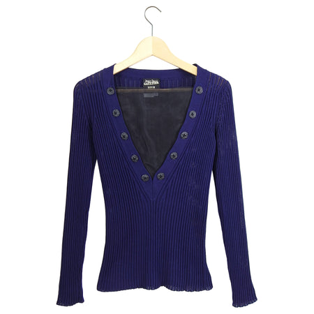 Jean Paul Gaultier Dark Purple Ribbed Knit Long Sleeve Top - S