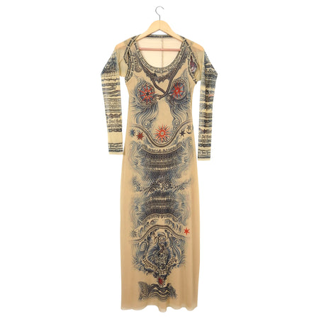 Jean Paul Gaultier Soleil Vintage Mesh Tattoo Bodycon Dress – L / XL