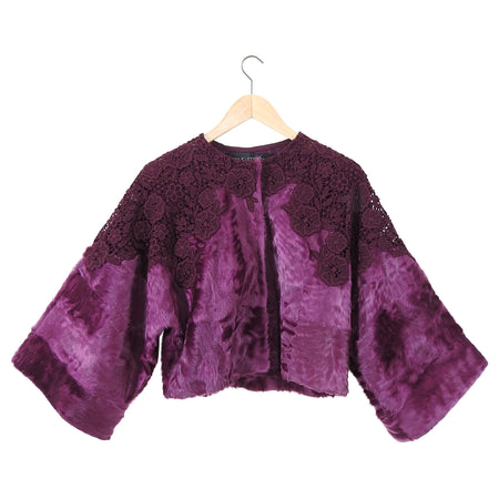 Giambattista Valli Purple Broadtail Lamb Fur Lace Crop Jacket - S